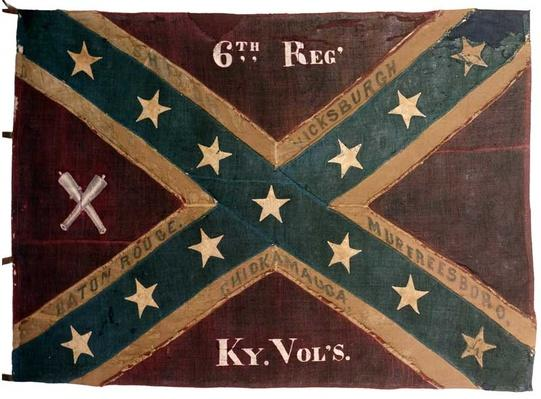 a confederate flag from the 6th Refiment Kentucky Infantry -- red with a blue cross covered in white stars