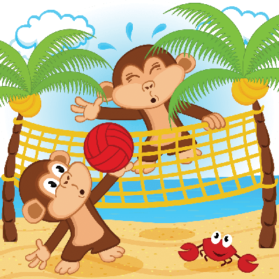 Monkeys Playing in Beach Volleyball | Clipart