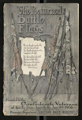 cover of a book with illustrations of tattered battle flags lined up
