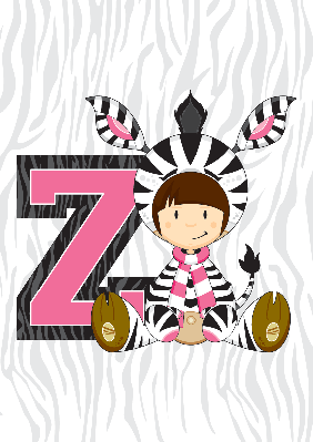 Girl in Zebra Costume Learning Illustration | Clipart