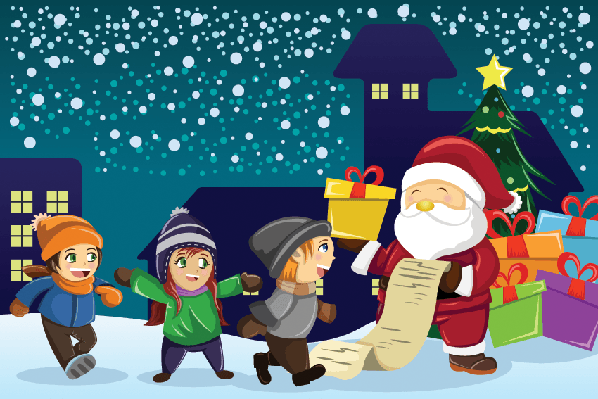 Santa Claus Carrying Present With Kids Around Him | Clipart