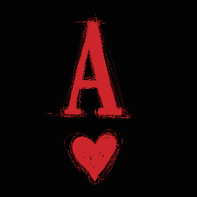 Ace of Hearts on Black Background | Clipart