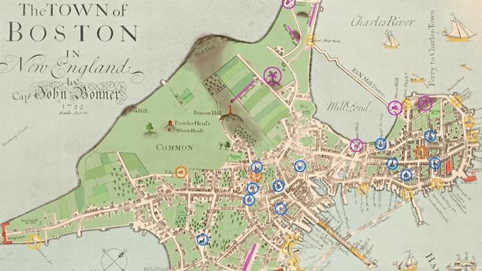 map of colonial boston area Explore Colonial Boston Pbs Learningmedia map of colonial boston area