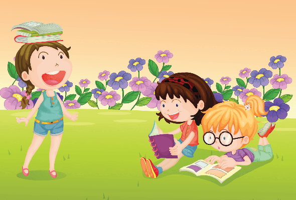 Girls Reading Books | Clipart