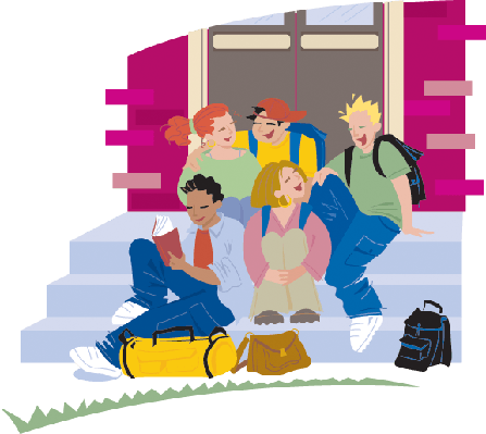 Group of Students Sitting on School Entrance Steps; Color | Clipart