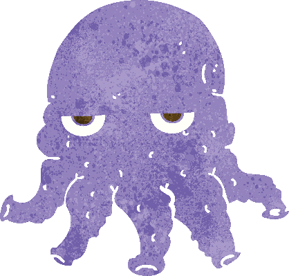 Cartoon Alien Squid Face | Clipart