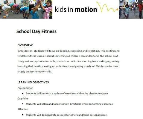 School Day Fitness Lesson Plan