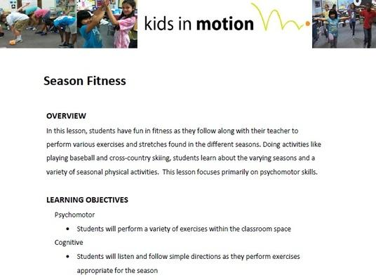 Season Fitness Lesson Plan