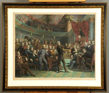 An engraving shows Kentucky Senator Henry Clay speaking to the United States Senate.