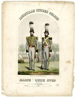 the cover of a piece of sheet music depicint two members of the Louisville Citizen Gaurds in uniform with plumed hats