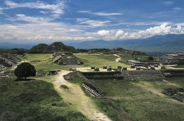 Central square and view of archaeological site of Monte Alban (Unesco World Heritage List, 1987), Mexico, Zapotec Civilization