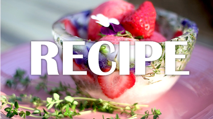Strawberry Rhubarb Sorbet in Ice Bowls Recipe   Kitchen Vignettes
