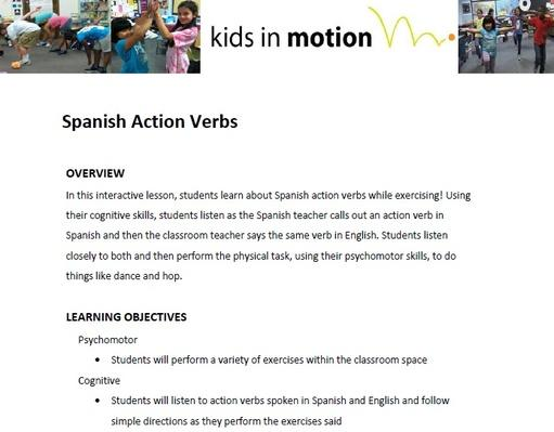 Spanish Action Verbs Lesson Plan
