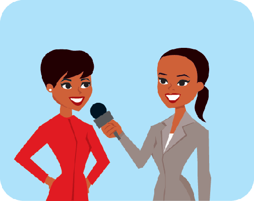 Reporter interviweing Business Woman Wearing Red Suit | Clipart