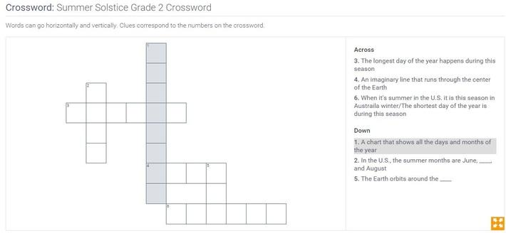 Summer Solstice | Grade 2 Crossword