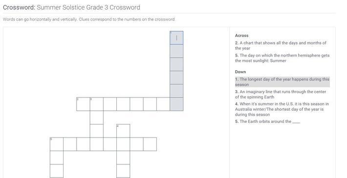 Summer Solstice | Grade 3 Crossword