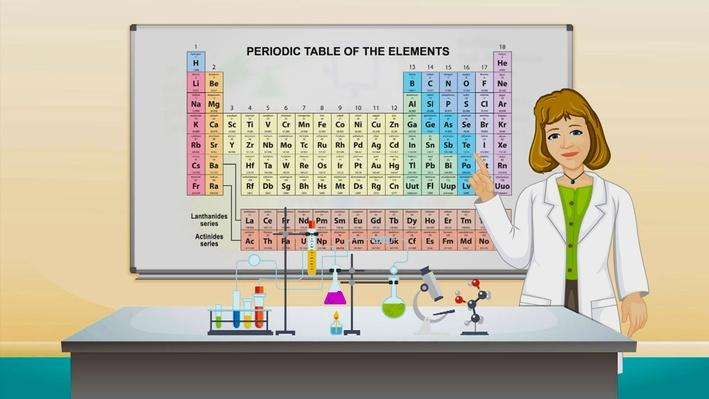 An animation of a scientist in a lab coat in front of the periodic table