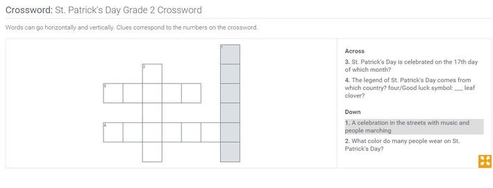 St. Patrick's Day | Grade 2 Crossword