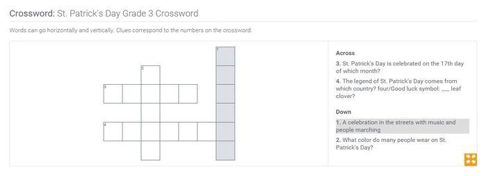 St. Patricks's Day | Grade 3 Crossword