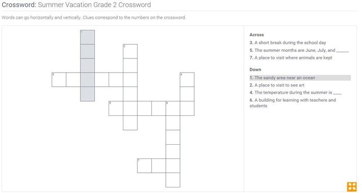 Summer Vacation | Grade 2 Crossword