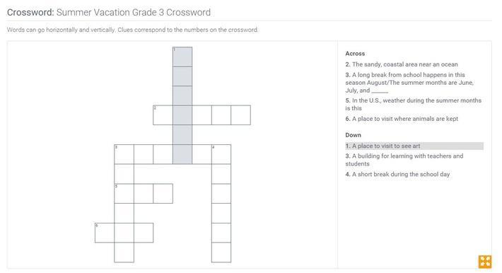 Summer Vacation | Grade 3 Crossword