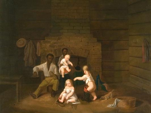 a painting showing african american enslaved people caring for three small caucasion children near a hearth