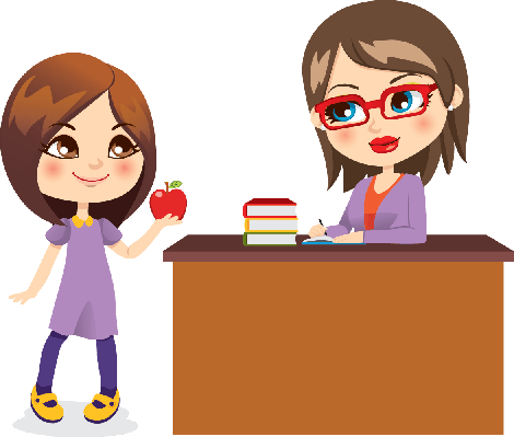 Schoolgirl and Teacher | Clipart