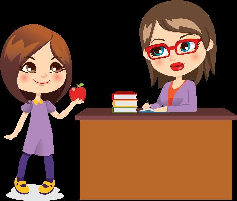 Schoolgirl and Teacher | Clipart