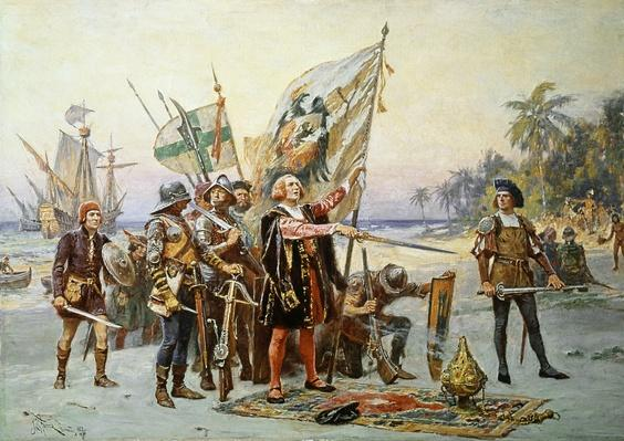Christopher Columbus Landing at San Salvadore, 19th Century Painting