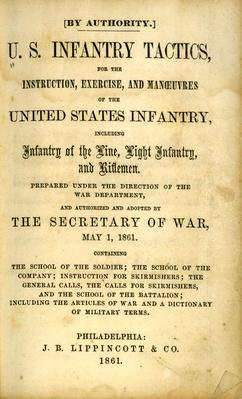 "a yellowed page from a book called ""U.S. Infantry and Rifle Tactics"""