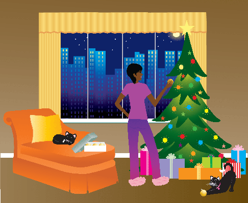 Trimming The Tree | Clipart