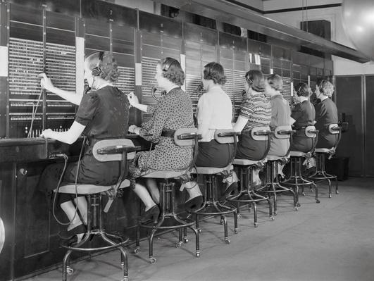 Row of Seven Women Switchboard Operators