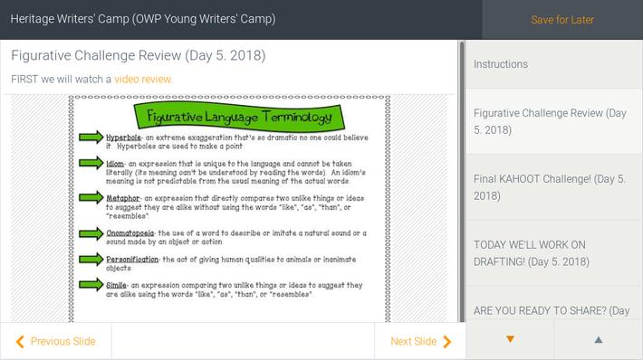 Heritage Learners   Spanish Learners -- Writers Workshop (Oregon Writers Workshop