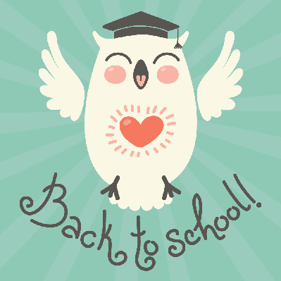 Back to School: Card With an Owl | Clipart