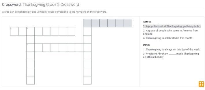 Thanksgiving | Grade 2 Crossword