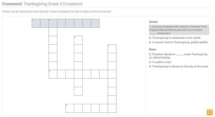 Thanksgiving | Grade 3 Crossword
