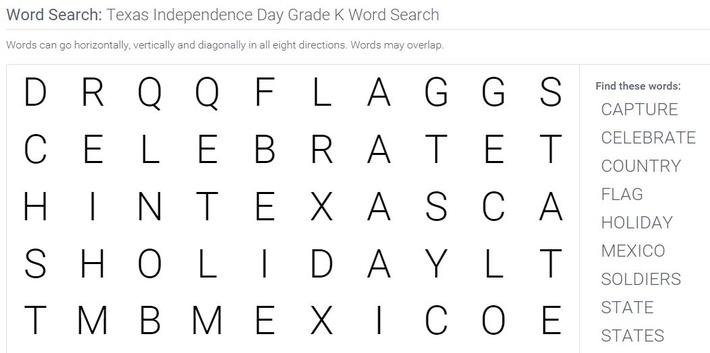 Texas Independence Day | Grade K Word Search