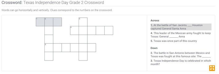 Texas Independence Day | Grade 2 Crossword