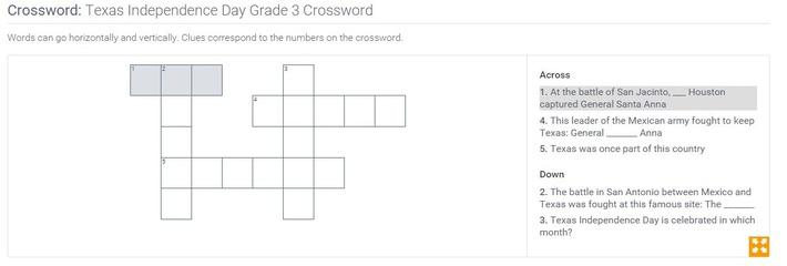 Texas Independence Day | Grade 3 Crossword