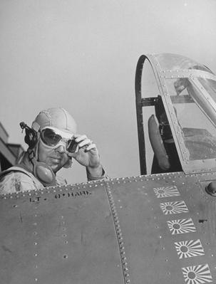 US Navy flying ace Lt Edward H O'Hare sitting in his plane   World War II