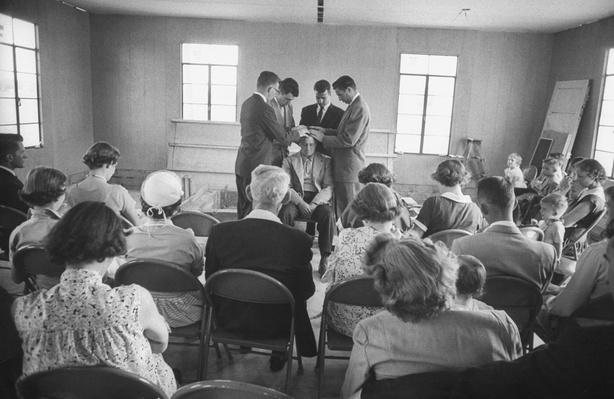 First service in pre-fab church by small congregation  | World Religions: Mormonism