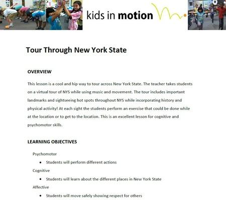 Tour Through New York State Lesson Plan