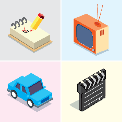 Clapperboard, Car, Notepad, TV | Clipart