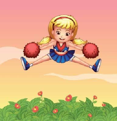 Cheerleader in The Garden | Clipart