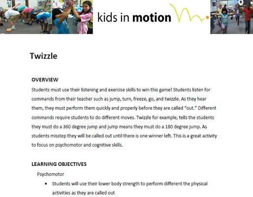 Twizzle Lesson Plan