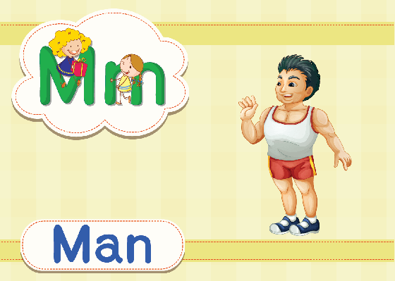 Vocabulary Cards - M for Man | Clipart
