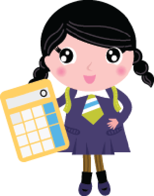 Beautiful School Girl with Yellow Calculator Isolated on White | Clipart