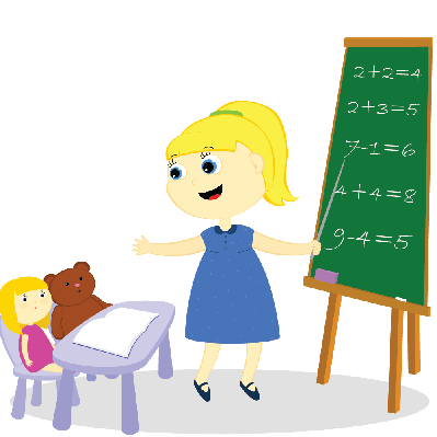 Girl Teaches Toys | Clipart