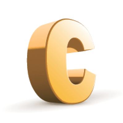 3D Golden Letter: C | Clipart