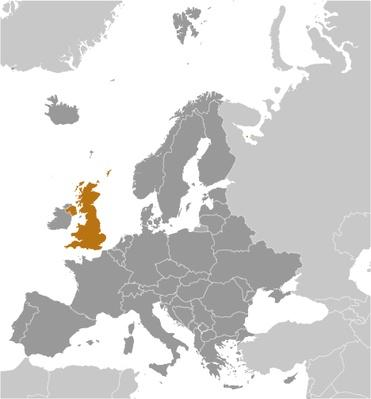 Map of the location of the United Kingdom